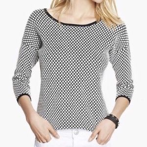 Polka dot 3/4 sweater from Express (White)